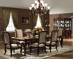 Dining Room Formal Sets Dark Brown Finishing Long Wooden Table Traditional Style Chairs Designed Rectangular White