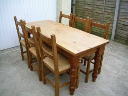 Solid Pine Farmhouse Table With 6 Rush Seated Chairs Long & Narrow 5'6