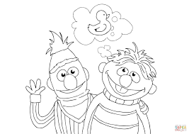 Click The Bert Ernie And Rubber Duckie Coloring Pages To View Printable