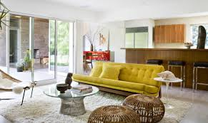 Sliding Glass Doors Mid Century Modern Living Room Ideas Enhanced Fireplace Facing Wooden Table Grey Fur Rug Big Lamps