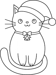 Christmas Kitten Coloring Page