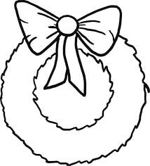 Simple Christmas Wreaths With Ribbon Coloring Pages