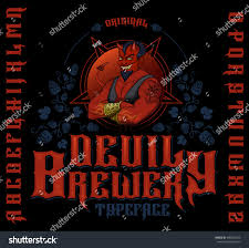 Is Halloween A Satanic Holiday by Original Devil Brewery Typeface Retro Font Stock Vector 580592545