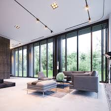 Minimalist Home With Floor To Ceiling Windows Interior