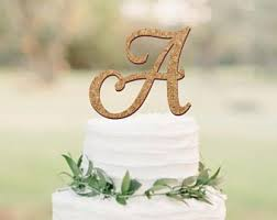 Rustic Cake Topper Wedding Cork Monogram