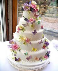 Colorful Butterflies and Flowers Beautiful Wedding Cake Design