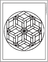 Geometric Design Coloring Pages Star Flowers In Basket Weave Mosaic Pattern