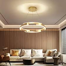 led esszimmer pendelleuchte dimmbar mit fernbedienung 3000k 6500k designer pendelle gold hängele höhenverstellbar alu und acryl für schlafzimmer