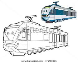 Coloring Page Train Illustration Children Stock