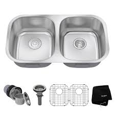Home Depot Kitchen Sinks In Stock by Kraus Undermount Stainless Steel 32 In 50 50 Double Bowl Kitchen