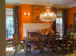 Splashy Plaid Curtains In Dining Room Traditional With Chair Seat Covers Next To Orange Alongside Curtain Crown Molding And Walls