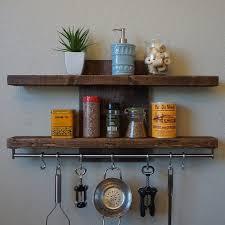 Modern Rustic 2 Tier Spice Rack Shelf W 30 Pot Bar 7 Hanging Hooks