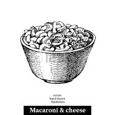 Hand drawn sketch homemade macaroni and cheese in a bowl Vector
