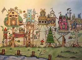 Colouring Coloring Books Johanna Basford The Sky Enchante Prismacolor Pastel Whimsical Art Tree Houses