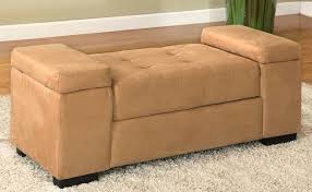 Ottoman Bench Storage Kings Brand Beige Finish Microfiber Storage