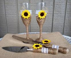 Sunflower Wedding Cake Serving Set Champagne Glasses