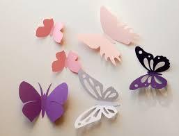 D Paper Butterfly Wall Sticker Room Decoration Baby Nursery Art Wedding In White Pinks