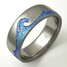 Eastbourne 1 a titanium ring with waves