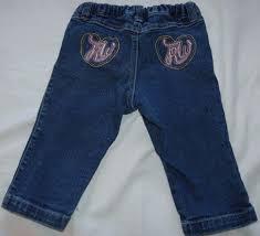 rocawear girls denim blue jeans 12m heart pocket rw logo 100