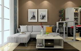 3d living room with light brown wall 3d house