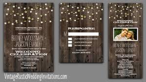 String Lights And Stars Wooden Barn Wedding Invitations
