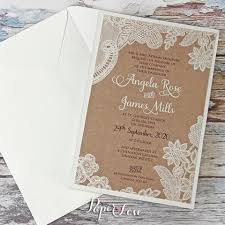 Ecco Wedding Day Invitation With Eko Brown Background Cream Or White Printed Floral Lace