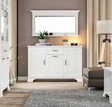details zu sideboard mit wandspiegel kommode anrichte wohnzimmer 2 teilig weiß 68137094