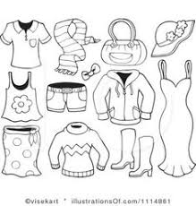 Summer Clothes Clipart Black And White 5