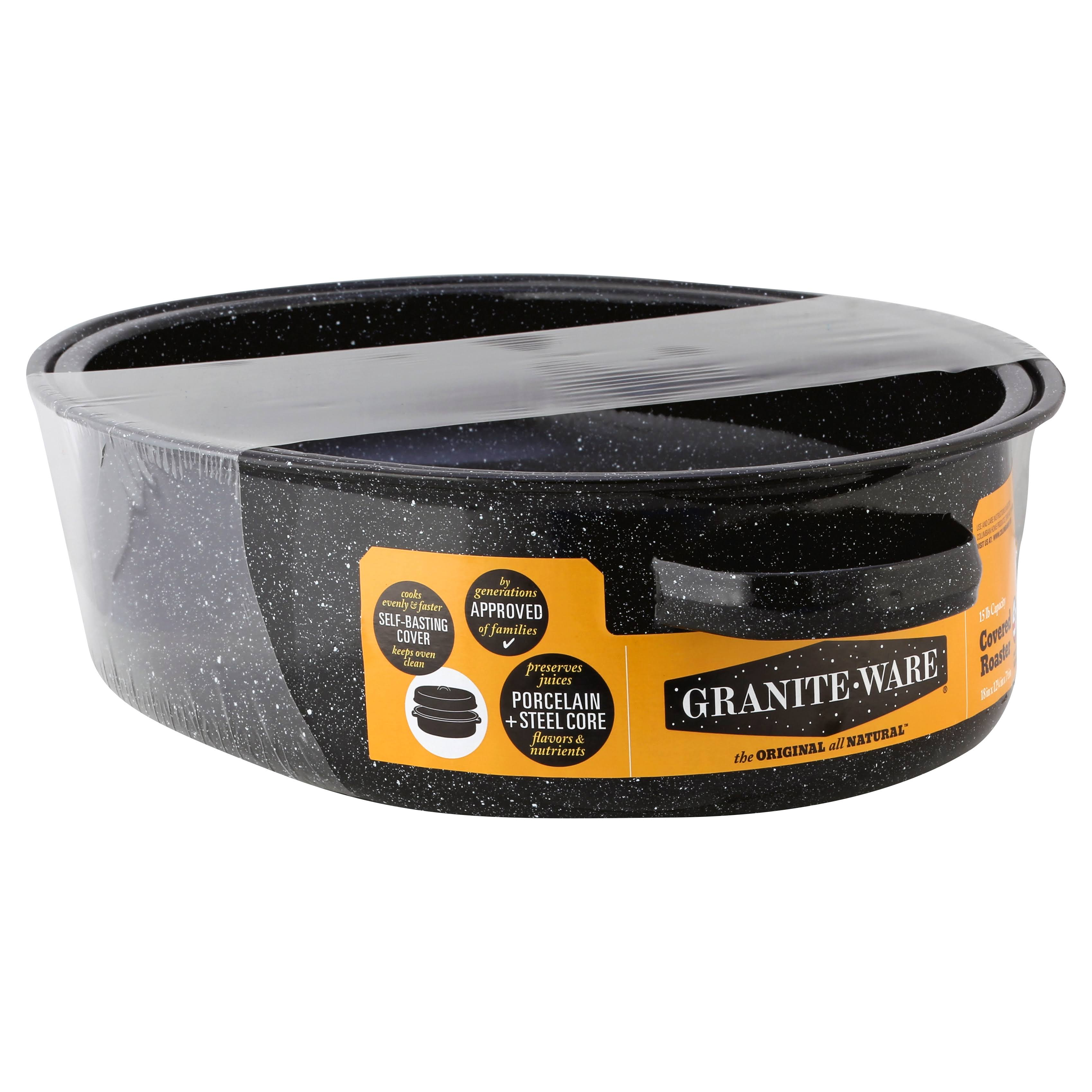 Columbian Home Products Granite Ware Roaster - with Lid, Black, Oval, 18""