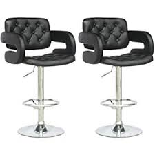 Black Leather Bar Stools by Amazon Com Corliving Dab 909 B Tufted Adjustable Bar Stool With