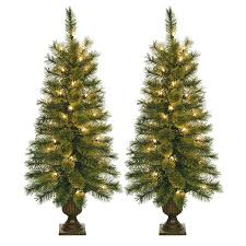 Pre Lit Porch Christmas Trees by Shop Jeco 3 5 Ft 90 Count Pre Lit Slim Artificial Christmas Tree