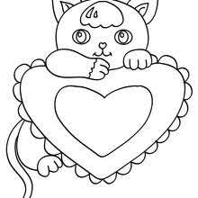 Kawaii Kitten Coloring Page