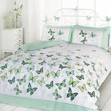 details zu schmetterling flattern doppelbett bezug set schlafzimmer bett grün weiß neu
