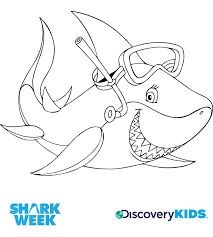 Activity Snorkel Shark Coloring Page Print