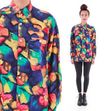 90s GUESS Colorful Button Down Blouse Shirt Abstract Vibrant 1990s Hip Hop Hipster Vintage Unisex Clothing