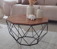 finebuy couchtisch sheesham massivholz metall 66 x 40 x 66 cm wohnzimmertisch massiv braun sofatisch modern holztisch tisch wohnzimmer