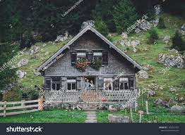 100 House In Forest Happy Couple Posing Wooden Stock Photo Edit