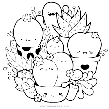 How To Draw Kawaii Succulents Kawaii Doodle Stepbystep