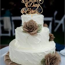 Best Day Ever Wedding Cake Topper Monogram Rustic Decor
