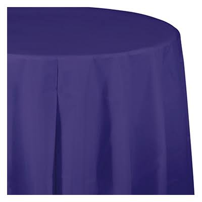 Creative Converting Octy Round Plastic Table Cover - Purple, 82""