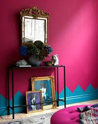 rosa blau wand farbe muster wohnzimmer eklektisch