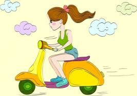 Woman Riding Scooter Drawing Colored Cartoon Design Vectors Stock