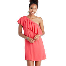 coral conway one shoulder ruffle dress free shipping on orders