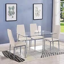 goldfan esstisch glas mit 4 beige stühlen essgruppe wohnzimmertisch und 4 stuhl küchentisch tische set