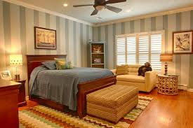 Bedroom Ideas For Guys With Stripes Walls And Window Treatments Also Sofa Bench