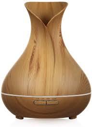 aroma diffuser 400ml mit 7 led farben für schönheitssalon ultraschall air luftbefeuchter holz vasen stil