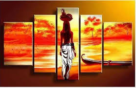 Indian Beauty Love 5 Screen HAND PAINTED Pop Canvas Modern Decorative Portfolio Abstract Art Gift Back Nude Oil Paintings 5pcs In Painting Calligraphy
