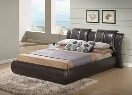 King Platform Bed With Leather Headboard by Roggan Complete Brown Platform Bed In Faux Leather