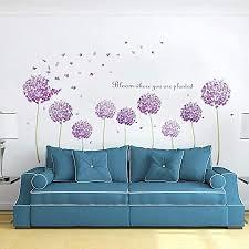 decalmile wandtattoo lila pusteblume wandsticker hortensie blumen löwenzahn wandaufkleber mädchen schlafzimmer wohnzimmer wanddeko