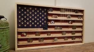18x34 Rustic American Flag Military Challenge Coin Display Case